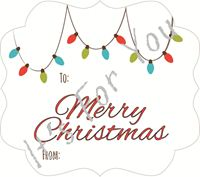 Picture of Gift Sticker Christmas White with Lights